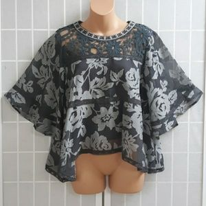 Esley ANTHROPOLOGIE Embroider Lace Floral Blouse S